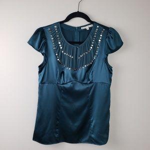 Nanette lepore silk sleeveless green top size 6
